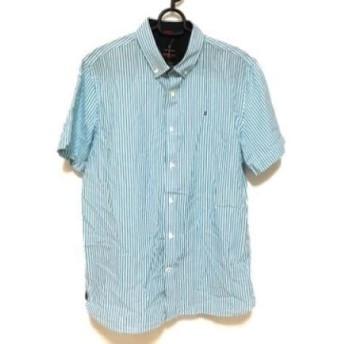 【中古】 ヴィクトリノックス VICTORINOX 半袖シャツ サイズL メンズ ライトブルー 白 ストライプ