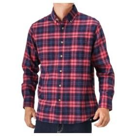 (MAC HOUSE/マックハウス)Navy フランネルチェックボタンダウンシャツ NG185-MF008/メンズ レッド×ネイビー