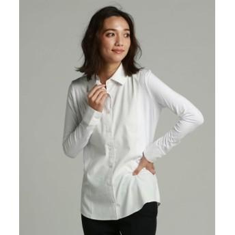 (la.f./ラ・エフ)モダールサテンジャストフィットシャツ/レディース ホワイト 送料無料