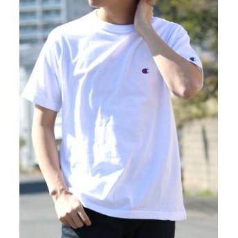 (MARUKAWA/マルカワ)【Champion】チャンピオン 無地 ワンポイント 半袖Tシャツ/メンズ ホワイト