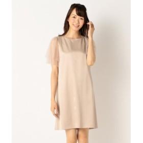 (KUMIKYOKU(L SIZE)/組曲(大きいサイズ))【結婚式やパーティに】サテンコンビチュールレース ドレス/レディース ピンク系