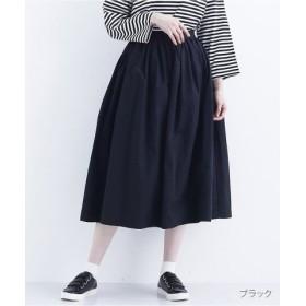 (merlot/メルロー)コットンギャザーロングスカート/レディース ブラック