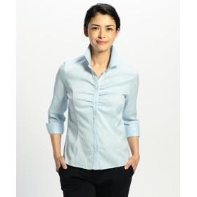 (NARA CAMICIE/ナラカミーチェ)サテンストライプスタンドカラー七分袖シャツ/レディース ブルー系