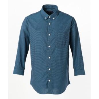 (SHARE PARK/シェアパーク)コットンパナマ 7分袖 シャツ/メンズ ターコイズブルー系