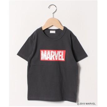 b-ROOM 【MARVELコラボ】ボックスロゴ半袖Tシャツ(チャコール)【返品不可商品】