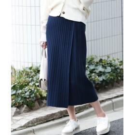 (ViS/ビス)【WEB限定】リブニット巻きスカート/レディース ネイビー(40)