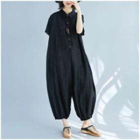 大きいサイズ ラフ シンプル ブラック 半袖 オールインワン サロペット