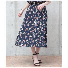 (AULI/アウリィ)前釦花柄スカート/レディース ネイビー