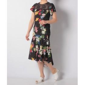 503e78d665691 (eimy istoire エイミーイストワール)Lilium flowerレースコンビマーメイドワンピース レディース BLACK