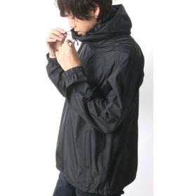 (MARUKAWA/マルカワ)撥水 防風 防花粉 透湿 高機能素材 フルジップパーカー ウィンドブレーカー/メンズ ブラック
