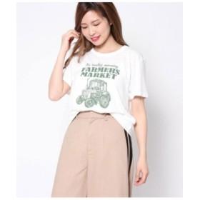 (Factor=/ファクターイコール)CARプリントTシャツ/レディース 生成