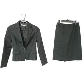 【中古】 ナチュラルビューティー ベーシック スカートスーツ レディース 黒 グレー ストライプ