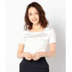 (NOLLEY'S/ノーリーズ)サテン切替Tシャツ/レディース ホワイト 送料無料