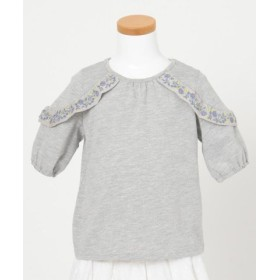 (anyFAM KIDS/エニィファム(キッズ))【KIDS】花刺繍フリル 20TC天竺 Tシャツ/レディース グレー系