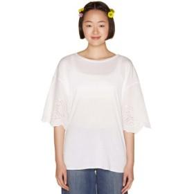 (BENETTON (UNITED COLORS OF BENETTON)/ベネトン(ユナイテッド カラーズ オブ ベネトン))袖刺繍ビッグTシャツ・カットソー/レディース ホワイト
