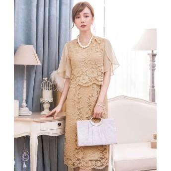 (DRESS STAR/ドレス スター)セットアップ風デザインフリルスリーブレースパーティドレス/レディース ベージュ 送料無料