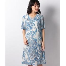 (LAPINE BLANCHE/ラピーヌ ブランシュ)シルクコットン更紗プリントAラインドレス/レディース ブルー