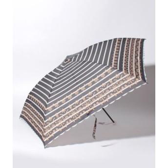 (Afternoon Tea LIVING/アフタヌーンティー・リビング)ボーダーレース折りたたみ傘 雨傘/レディース ブラック