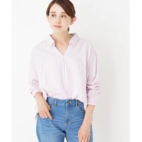 (SHOO・LA・RUE/シューラルー)コットンストライプシャツ/レディース ピンク(372)