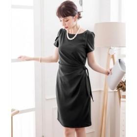 (DRESS STAR/ドレス スター)ペタル(チューリップ)スリーブサイドリボンドレーブワンピース/レディース ブラック 送料無料