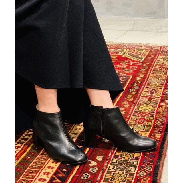 (And A/And A)MOHI/モヒ ANKLE BOOTS サイドジップ ゴートレザー ショートブーツ/レディース ブラック