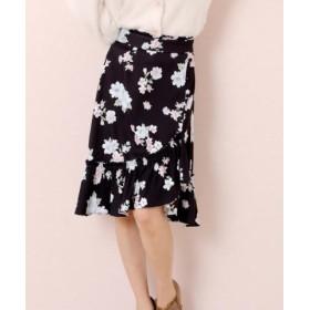 (LODISPOTTO/ロディスポット)【Ray1月号掲載】サザンカフローラルラップフリルスカート<LODI flower collection>/レディース クロ