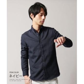 (THE CASUAL/ザ カジュアル)メンズ シャツ メンズファッション 秋 冬 春 ストライプ 長袖 シャツ ピンストライプ SPU スプ/メンズ ネイビー