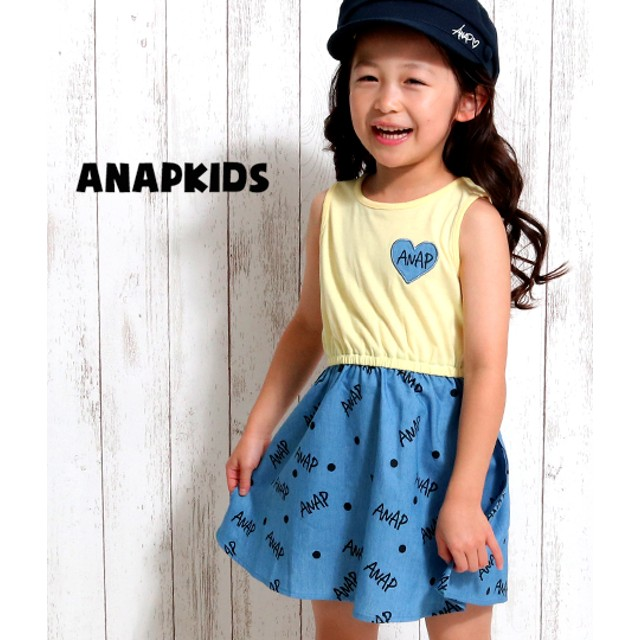 【セール開催中】ANAP KIDS(キッズ)デニムプリントドッキングワンピース