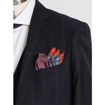 (TAKA-Q/タカキュー)ALEXANDERJULIAN MADE IN ITALY シルクポケットチーフ/メンズ オレンジ