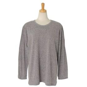 (REAL STYLE/リアルスタイル)杢調シンプル長袖カットソー レディース トップス ロングTシャツ ロンT Tシャツ ロングスリーブ 大きめ ゆったり大きいサイズ ドロップショルダー 無地 ベー/レディース グレー
