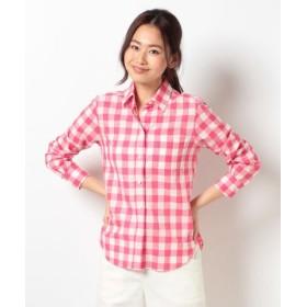(allureville/アルアバイル)綿麻ギンガムチェックシャツ/レディース ピンク