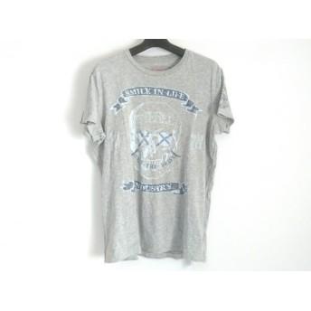 【中古】 ディーゼル DIESEL 半袖Tシャツ サイズM メンズ グレー ライトブルー ネイビー スカル