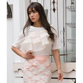 (Million Carats/ミリオンカラッツ)アシメティアードフリルブラウス[DRESS/ドレス]/レディース ホワイト 送料無料