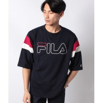 (WEGO/ウィゴー)WEGO/FILA別注切替ミニ裏毛5分袖プルオーバー/ユニセックス ネイビー