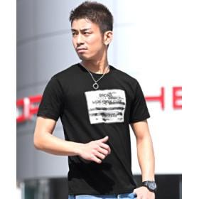 (LUXSTYLE/ラグスタイル)3D加工星条旗フォトプリント半袖Tシャツ/メンズ ブラック