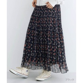 (merlot/メルロー)フラワーシフォンプリーツスカート/レディース ブラック