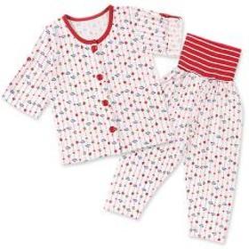 [EFD]腹巻付き前開きロールアップ7分袖パジャマ(イチゴ&チェリー縦縞) 80