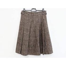 【中古】 ニジュウサンク 23区 スカート サイズ38 M レディース グレー ブラウン マルチ