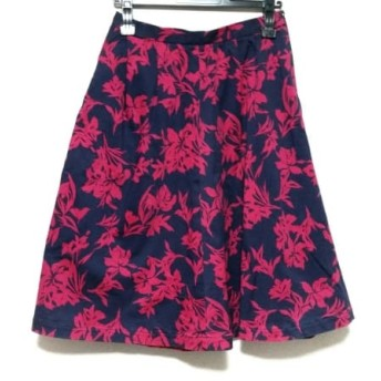 【中古】 ノーブル NOBLE スカート サイズ40 M レディース ネイビー ピンク 花柄