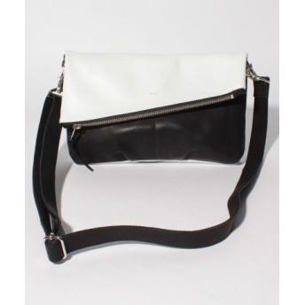 (DECADE/ディケイド)グリッドレザー クラッチショルダーバッグ/メンズ ホワイト×ブラック 送料無料