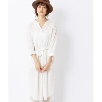 (COMME CA ISM/コムサイズム)リネン混 ロングシャツ ガウンワンピース/レディース ホワイト 送料無料