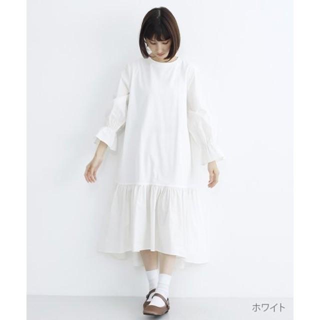 (merlot/メルロー)キャンディスリーブ切替カットソーワンピース/レディース ホワイト