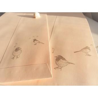 『セグロセキレイ2羽』 消しゴムはんこ2羽+CDH2個セット