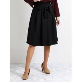 (TAKA-Q/タカキュー)ハイウエストリボンフレアースカート 黒/レディース ブラック