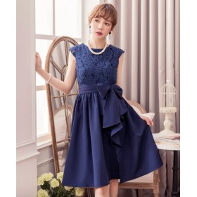 5a97435456472 (DRESS STAR ドレス スター)3WAYフリルレースパーティードレス レディース ネイビー 送料
