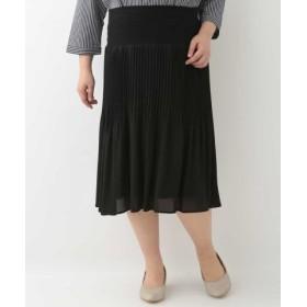 (eur3/エウルキューブ)【大きいサイズ】シフォンプリーツスカート/レディース ブラック