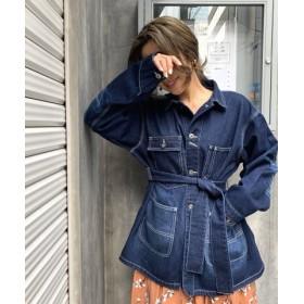 (CIEL'AIR/シエルエアー)デニムジャケットベルト付きカバーオール/レディース ブルー 送料無料