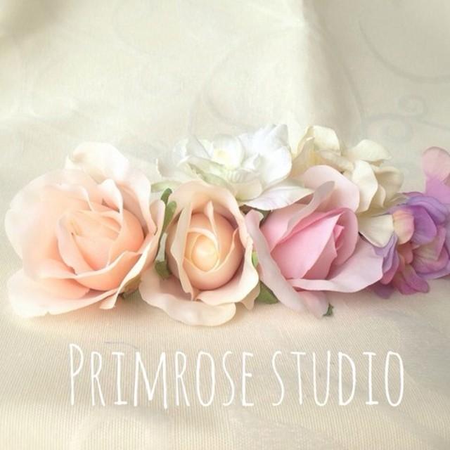 バラと紫陽花 パステルカラーのヘッドドレス【再販】