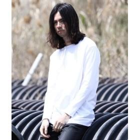 (JIGGYS SHOP/ジギーズショップ)日本産切替えアシメロンT /ロンT メンズ Tシャツ おしゃれ 長袖Tシャツ ロンティー カットソー トップス/メンズ ホワイト