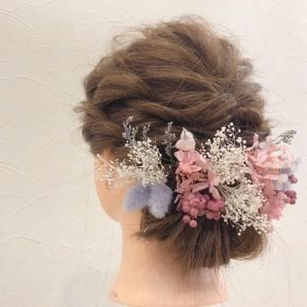 ふんわり春色カラーの髪飾り